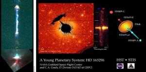 شکل(7): تصویر سمت راست(مرکز پرواز فضایی گودارد) که سیاره در یک آرایه مستقیم واقع شده  در امتداد محور جت ستاره مادرشان تشکیل شده است. این توده ها به احتمال زیاد توسط لایه های دوتایی در آن محل تشکیل شده اند. در تصویر سمت چپ دمی با ساختار پیچشی یک جریان بیرکلند بزرگ که شامل لایه های دوتایی است به وضوح قابل مشاهده است. دکتر آنتونی پرات اشاره می کند که تعداد اجرامی که توسط اثر Z-پینچ در آنجا شکل گرفته است تقریبا 9 است.