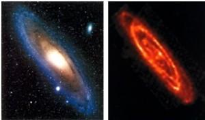 شکل(5): همسایه ما کهکشان آندرومدا، M31 ، ساختار دیسک مانند موتور هموپولار را از خود نشان می دهد. در تصویر سمت چپ یک تصویر عادی، در نور مریی از کهکشان M31 است. در تصویر سمت راست تصویری از همان کهکشان که توسط رصخانه فضایی فروسرخ (ISO) توسط ESA بدست آمده است.